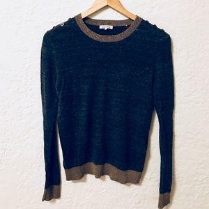 BCBG MAX AZRIA Manoukian Sweater Blue Gold Neck S